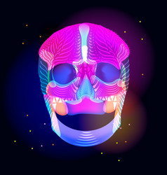 bright human skull over dark vector image