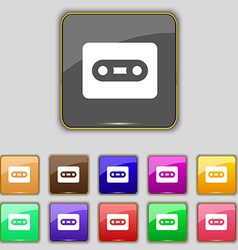 Cassette icon sign Set with eleven colored buttons vector image vector image