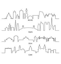 city landmarks beijing tokyo new delhi cuba vector image