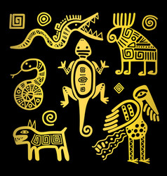 mexican culture golden tribal signs vector image vector image