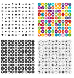 100 wealth icons set variant vector