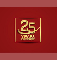 25 years anniversary with square and swoosh vector