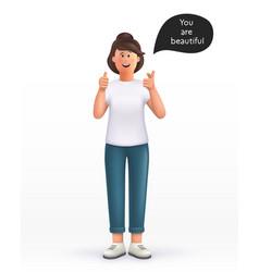 3d cartoon character young woman showing thumb up vector
