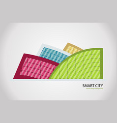abstract colorful city building composition sign vector image