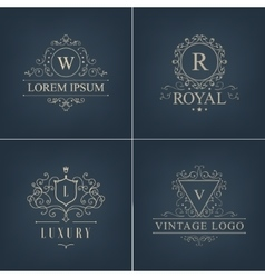 abstract logotypes icons Set Luxury Logos vector image