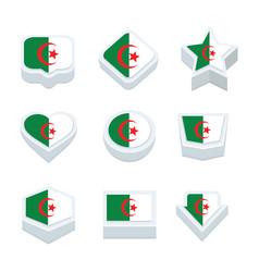 Algeria flags icons and button set nine styles vector