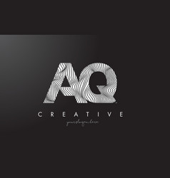 Aq a q letter logo with zebra lines texture vector