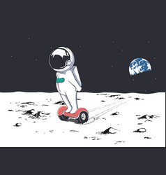 Astronaut rides on gyro scooter vector