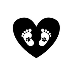 baby footprints with pet pawprints inside of vector image