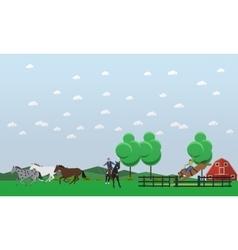 banner taming horses theme flat design vector image