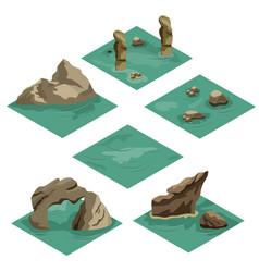 beach landscape isometric tile set vector image
