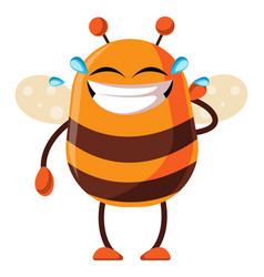 Bee is laughing in tears on white background vector