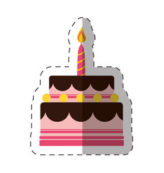 birthday cake sweet candle vector image