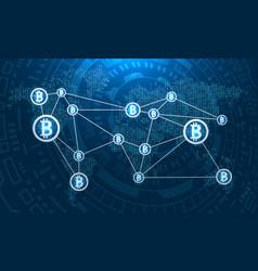 Bitcoins on world map btc virtual money transfer vector
