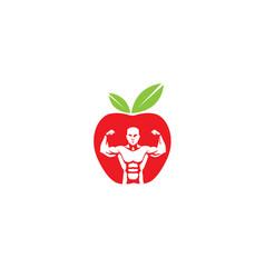 Bodybuilder apple logo vector