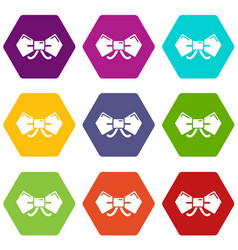 bow tie hipster icons set 9 vector image