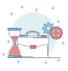 briefcase with hourglass and gears vector image