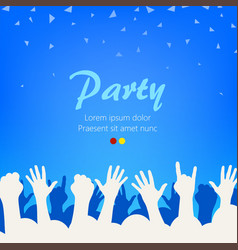 Bright blue party background group of people vector