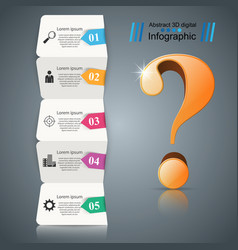 busines infographic five items paper question vector image