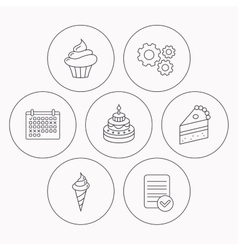 Cake cupcake and ice cream icons vector image
