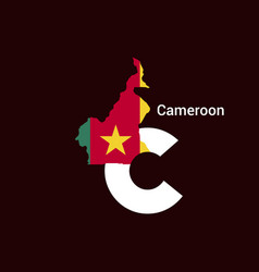 cameroon initial letter country with map and flag vector image