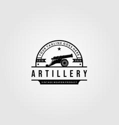 Cannon artillery logo vintage design cannon vector