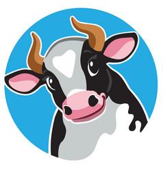 Cartoon cow in circle shape vector