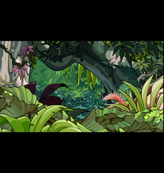 Cartoon tropical forest with a variety lush vector