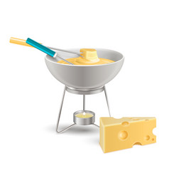 Cheese fondue realistic composition vector