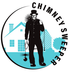 Chimney sweep with tool on background house vector