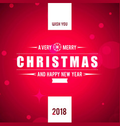 christmas greetings card with pink background and vector image