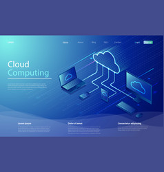 cloud computing use network for data transfer vector image