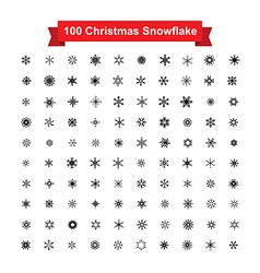 Collection of 100 Christmas snowflake isolated on vector image