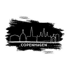 Copenhagen denmark city skyline silhouette hand vector