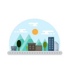 Countryside and city landscape flat design vector