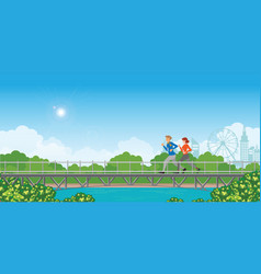 couple running on bridge on green natural vector image