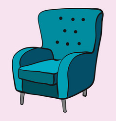 cozy emerald armchair is waiting for sitting vector image