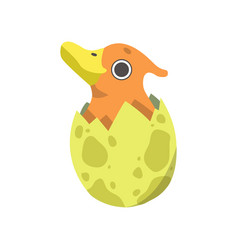 cute little duckbill dino hatched from yellow egg vector image