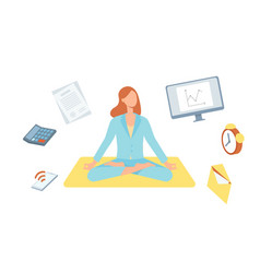 cute woman doing yoga in lotus posture vector image