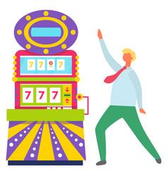 dancing man happy jackpot in casino gambler vector image