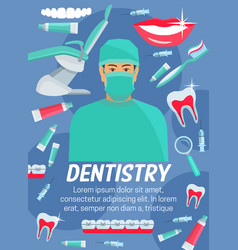 dentistry poster of dentist tooth and dental tool vector image