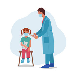 Doctor giving vaccine injection to little girl vector