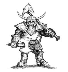 drawing fantasy dwarf warrior in armor vector image