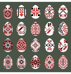 Easter Eggs Set in traditional ukrainian style vector image