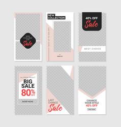 Editable commercial instagram stories template vector