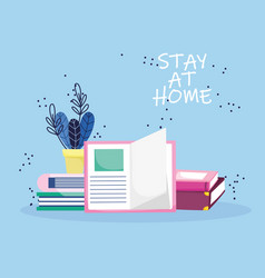 Education online stay at home stacked books vector