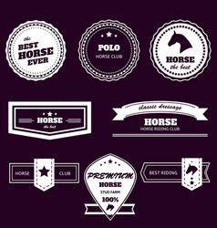 equestrian sport two-colored emblems set on dark vector image