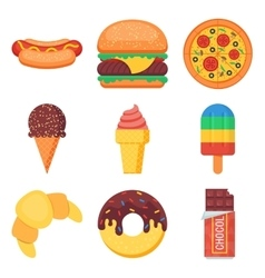 Fast food and sweets flat icons set vector image