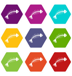 fish bones icon set color hexahedron vector image