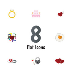 flat icon amour set of patisserie emotion soul vector image